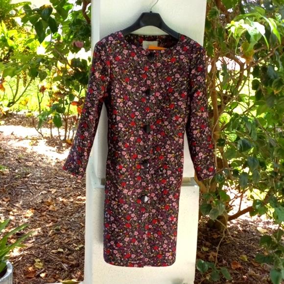 Kate Spade floral jacquard multi color coat